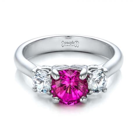 custom pink and white sapphire engagement ring 100863