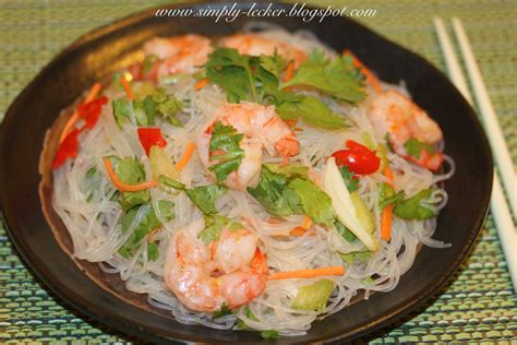simply lecker spicy glass noodles salad with prawns