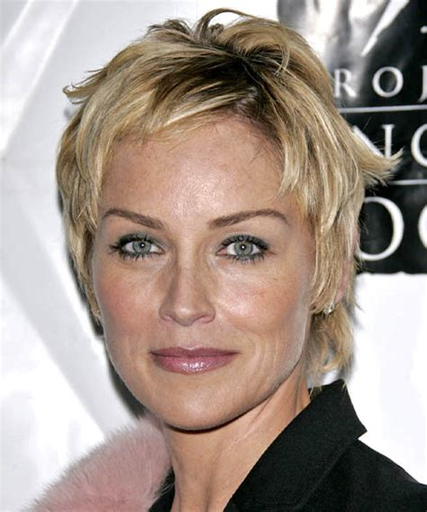 sharon stone short hair on round face sharon stone short straight casual hairstyle