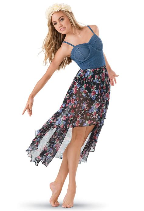 Dress Santai Floral Denim denim bustier floral print skirt dress balera