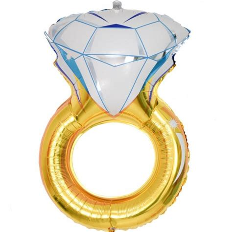Ring Foil Balloon Blue gold engagement ring foil balloon candle cake