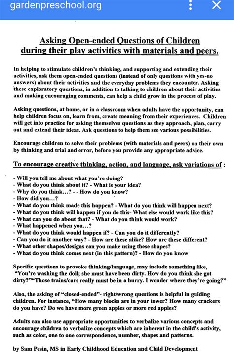 Early Childhood Education Questions Open Ended Questions To Use In Early Childhood Education