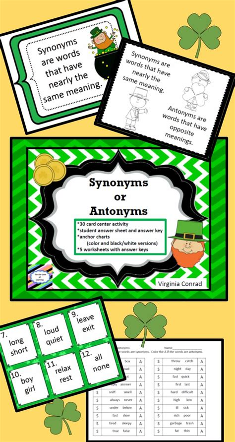 theme day synonym synonym and antonyms task cards worksheets and more st