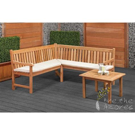 corner outdoor bench oxford teak corner garden bench with table breathe azores