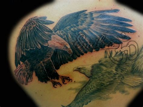 black eagle tattoo realistic black white eagle balinese miami