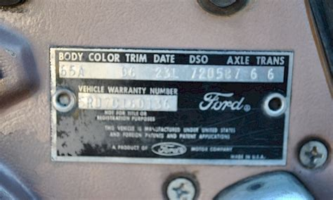 1965 mustang data plate decoder beige 1965 ford mustang hardtop mustangattitude