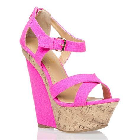 neon pink heels wedges fashion
