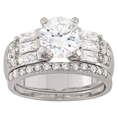3 22 ct t w cubic zirconia engagement ring set in