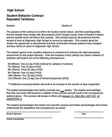 Sle Student Behavior Contract Forms 9 Free Documents In Word Pdf Employee Behavior Contract Template