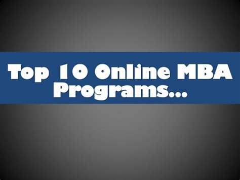 Best Mba Progarmms by Top 10 Mba Programs