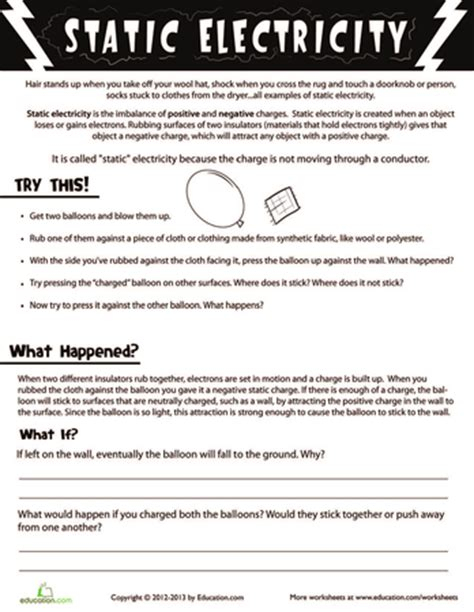 Static Electricity Worksheets For by Electricity Magnetism For Printable Workbook