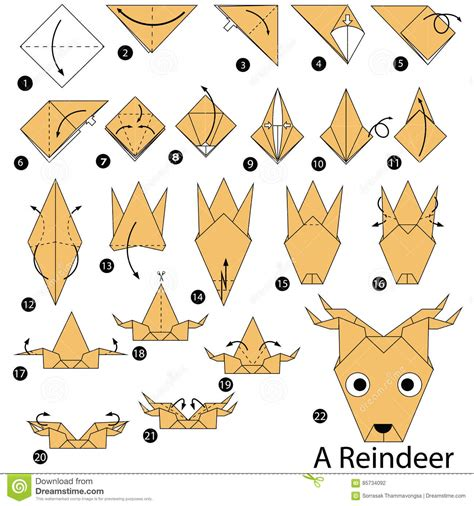 How To Make A Paper Reindeer - step by step how to make origami a reindeer