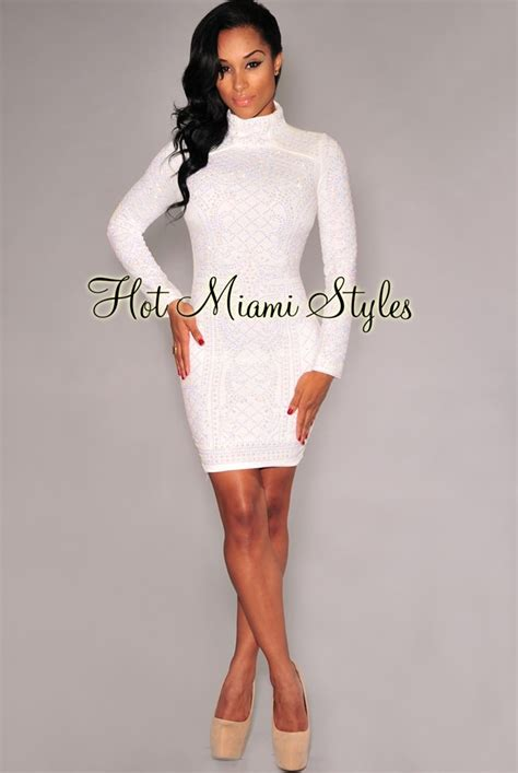 white iridescent stones quilted turtleneck dress