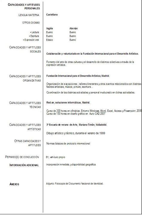 Formato Curriculum Vitae Union Europea Cocemfe Castilla Y Le 243 N