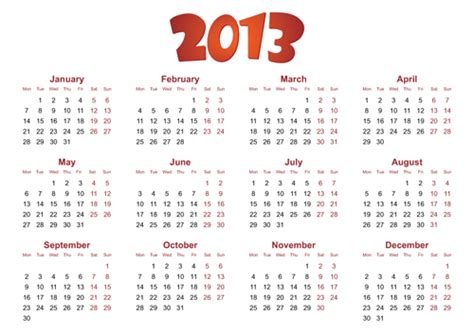 calendar design elements creative 2013 calendars design elements vector set 24