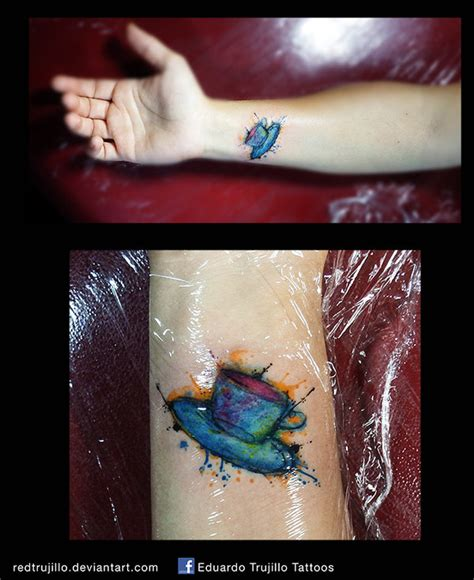 water color coffee cup tattoo by redtrujillo on deviantart
