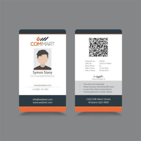 template id card 21 id cards sle templates