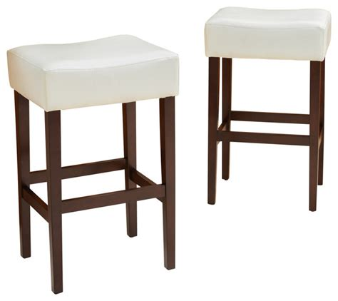 Ivory Counter Stools by Duff Backless Leather Bar Stools Ivory Set Of 2