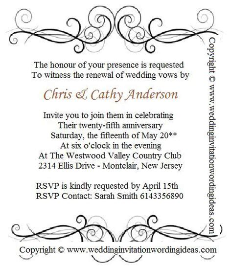 25th anniversary invitations templates sle country verses for vow renewal invitations