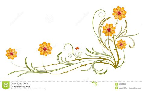 bloemen tekening oranje orange wild flower and vines stock illustration