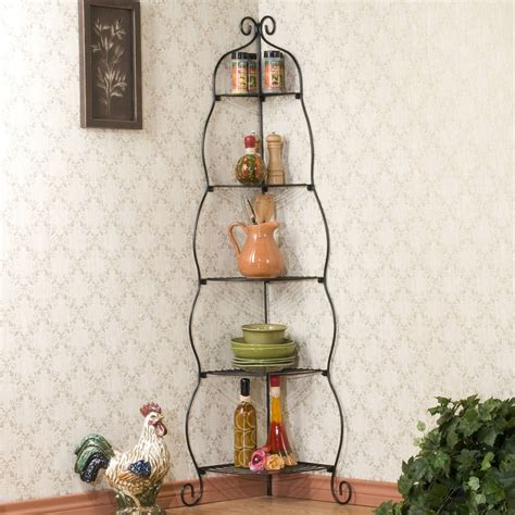 Bakers Rack Corner Unit by Corner Bakers Rack 5 Tier Shelves With Decorative Metal