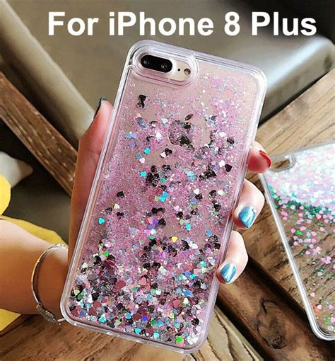 iphone 8 plus waterfall floating moving glitter hearts liquid pink new ebay