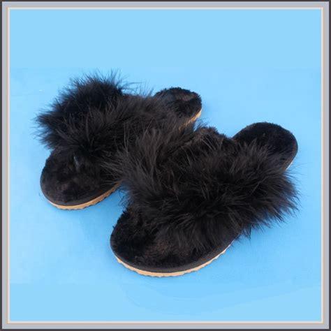 black fuzzy slippers soft fuzzy black ostrich feather sheepskin slippers