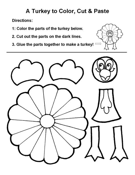 turkey coloring page cut out thanksgiving arts and crafts