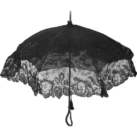 Vintage Accessories by Antique Mourning Parasol With Black Chantilly