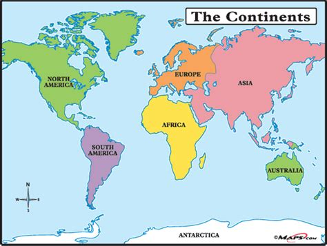 7 continents map continents land and water in our world