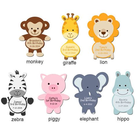 jungle animals shaped personalized labels baby shower