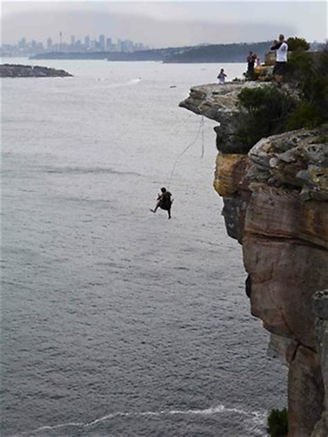 rock swings thrillseekers who freefall off the cliffs at north head