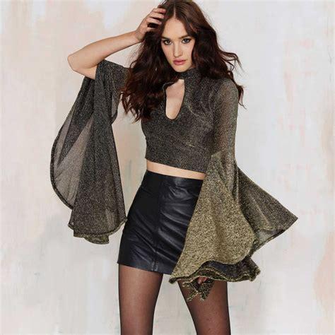 Luxury Top Blouse Crop Bludru haoduoyi womens luxury cut flare bell sleeve blouse