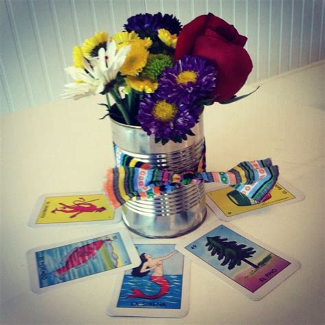 c theme decorations easy centerpieces with loteria cards cans flowers