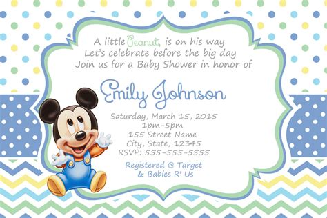 mickey mouse baby shower invitations baby mickey shower