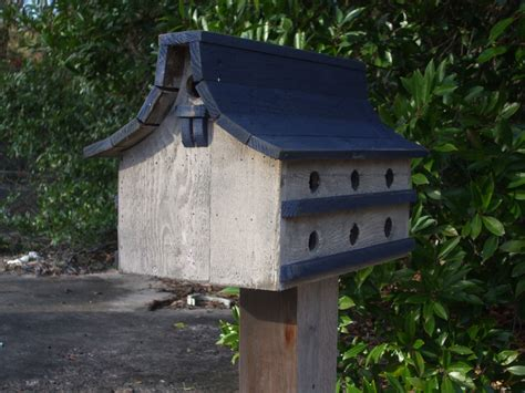 purple martin bird house navy blue and white bird house