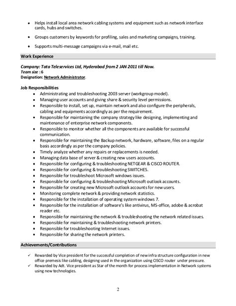 resume format for experienced windows system administrator system administrator resume format