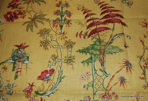 Gold Curtain Tassels Kravet Chardin Gold Asia Toile China Japan Oriental Linen