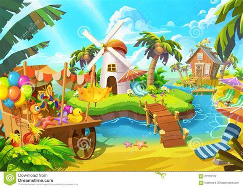 Lighthouse House Plans illustration happy sand beach windmill cabin coconut