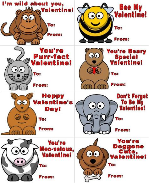Printable Animal Quotes | 8 silly animals printable valentines about family crafts