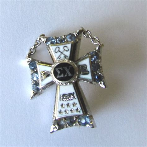 sigma chi badge with sapphires fraternity badges and