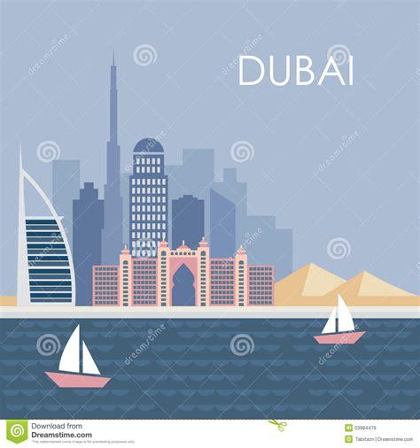 grid design graphics dubai skyline of dubai modern flat design background stock