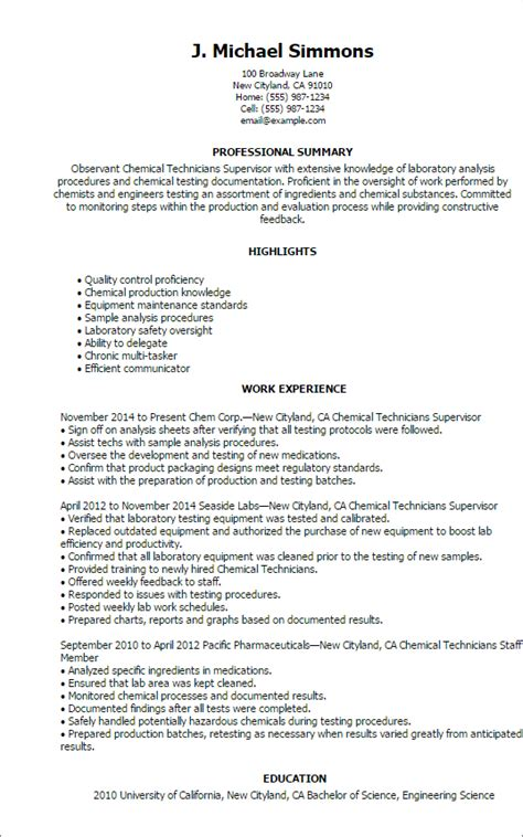 Chemistry Lab Technician Cover Letter by Professional Chemical Technicians Templates To Showcase Your Talent Myperfectresume