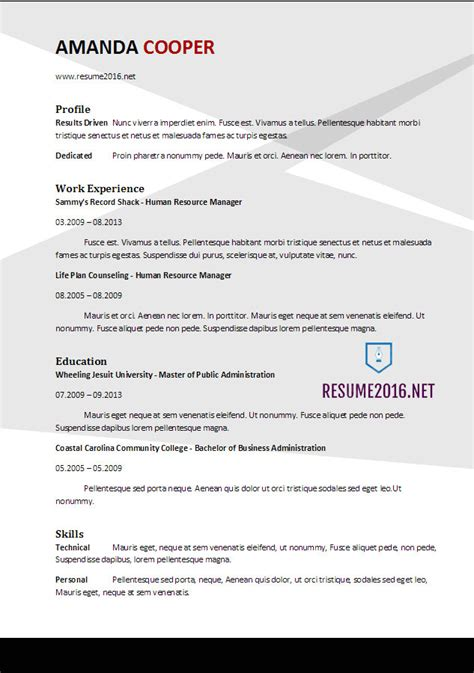 Resume Template 2017 Word by Resume Format 2017 20 Free Word Templates