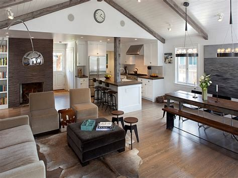 open floor plan kitchen and living room rustic contemporary furniture country rustic living room