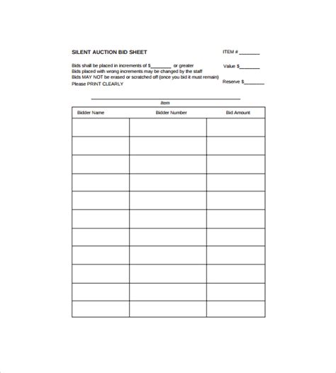search results for silent auction bid sheet template pdf