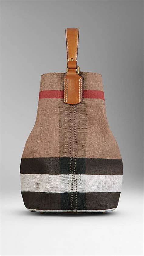 Burberry Check Canvas Hobo Bag Bliss by Medium Canvas Check Hobo Bag Saddle Brown Burberry