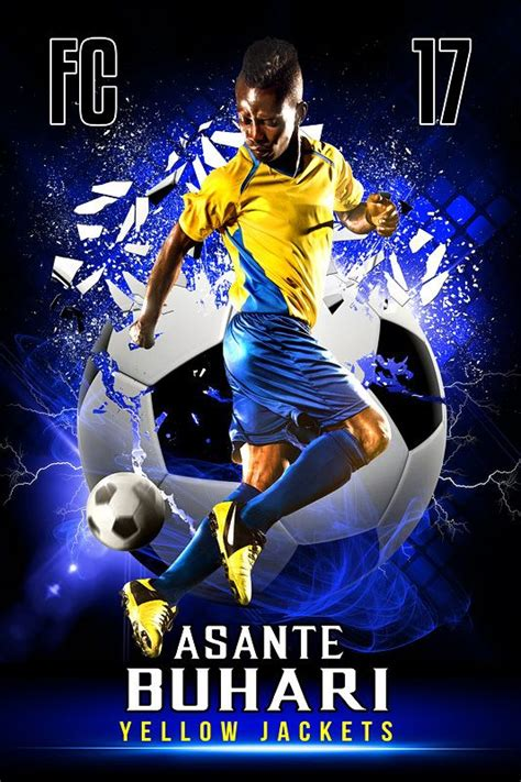 templates photoshop soccer player banner photo template shattered soccer ball