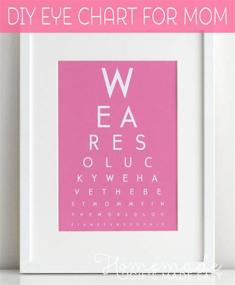mothers day gifts diy eye chart personalized mothers day gift