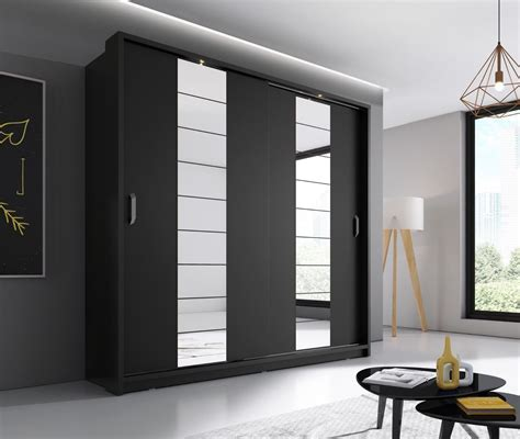 arti 14 black 2 sliding door wardrobe 220cm arthauss